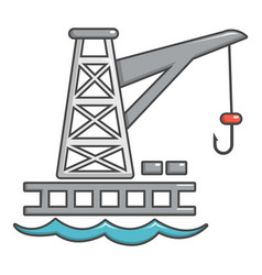 Crane port icon cartoon style vector