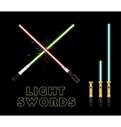 Crossed light swords flat style vector