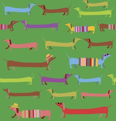 Cute dachshunds summer seamless print vector