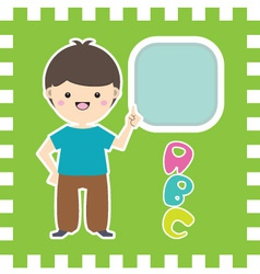 Cute little cartoon boy with place for your text vector