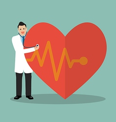 Doctor using stethoscope with big heart vector