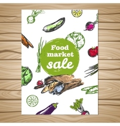 Drawn food market sale flyer vector
