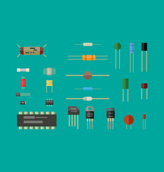 Electronic components circuit set vector
