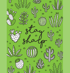 Exotic print with hand drawn succulents and vector