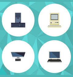 Flat icon laptop set of computing processor pc vector