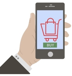 Hand holing smart phone vector image vector image