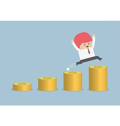 Happy businessman jumping on the money step vector image vector image
