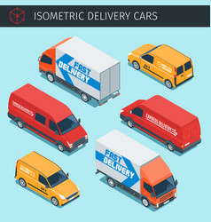 isometric delivery cars vector image