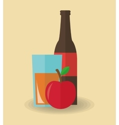 Juice drink and apple design vector