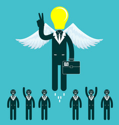 Light bulb headed businessmen in the center of a vector
