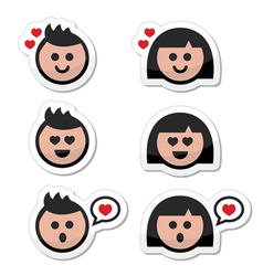 Man and woman in love valentines icons set vector image vector image