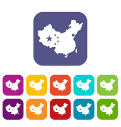 Map of china icons set flat vector