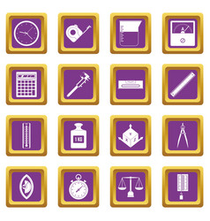 Measure precision icons set purple vector