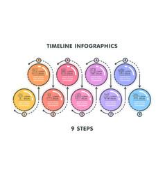 Modern 9 steps timeline infographic template vector
