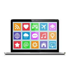 Modern laptop with icons vector