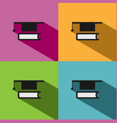 mortarboard with book icon on colored backgrounds vector image