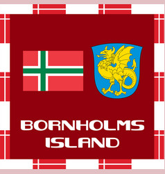 national ensigns of denmark - bornholms island vector image vector image