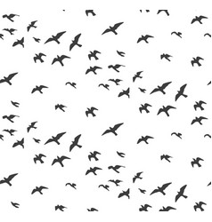 Seagulls silhouettes seamless pattern flock of vector