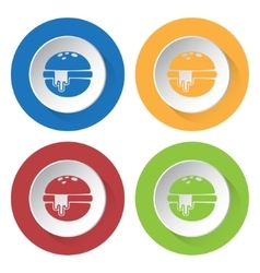 set of four icons - hamburger with melted cheese vector image vector image