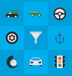 Set of simple traffic icons elements armature vector