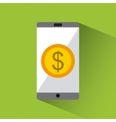 Smartphone with gold coin vector