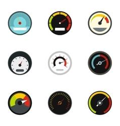 Speedometer icons set flat style vector
