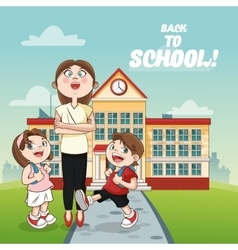 Teacher kids building back to school design vector