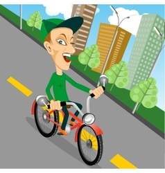 urban biking - teenage boy and bike in city vector image vector image