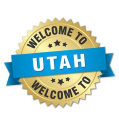 Utah 3d gold badge with blue ribbon vector
