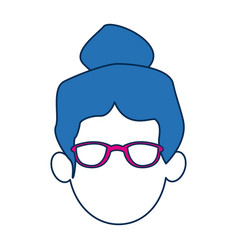woman avatar faceless with glasses and blue hair vector image