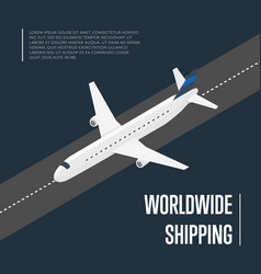 Worldwide shipping isometric banner with plane vector