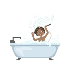 Boy taking the bath and playing with shower vector