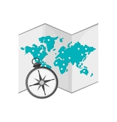 World map and compass icon vector