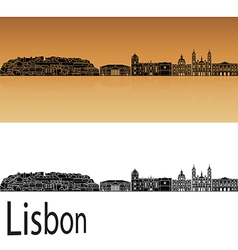Lisbon v2 skyline in orange vector
