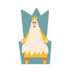 Old king with very long beard sitting on the vector
