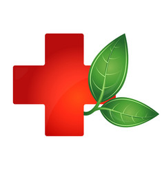 Red cross medical and green leaf vector