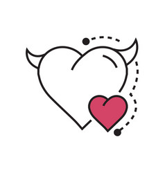 Line icon style heart devil color pink vector