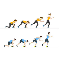 running woman and man step positions set vector image