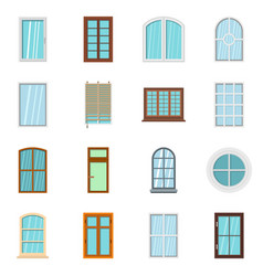 Plastic window forms icons set in flat style vector