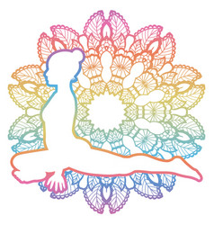 Women silhouette pigeon yoga pose kapotasana vector