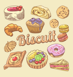 Sweet food hand drawn doodle with cupcake vector