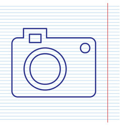 Digital camera sign  navy line icon on vector