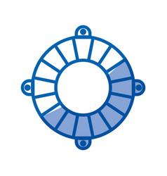 Blue shading silhouette of flotation hoop vector