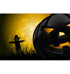 Halloween Background with Scarecrow and Pumpkin vector image