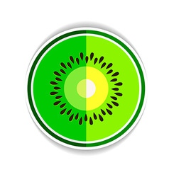 Icon ripe kiwi and a piece on a white background vector