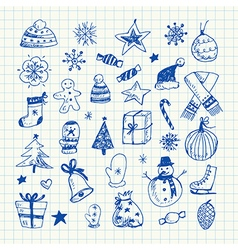 Christmas doodles set vector image