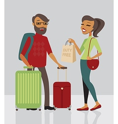 Young family traveling with baggage vector