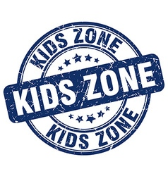 Kids zone blue grunge round vintage rubber stamp vector
