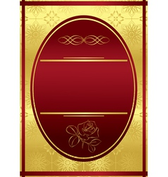 vertical golden frame with red oval vector image