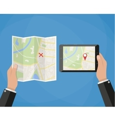 Tablet navigation application and folded paper map vector